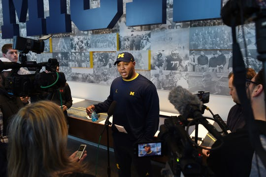 Josh Gattis speaks to the media during a news conference at Schembechler Hall on Friday.