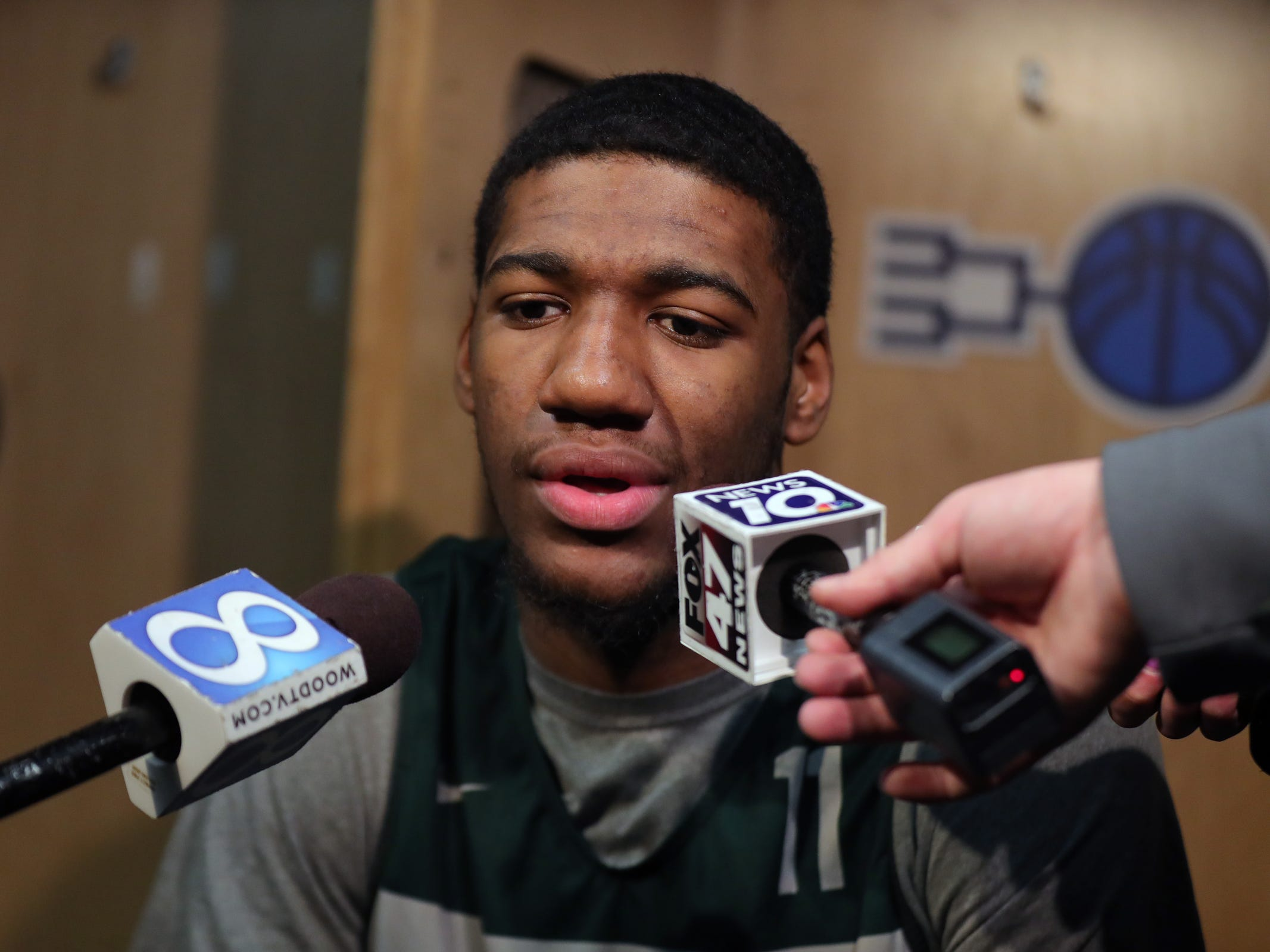 Michigan State forward Aaron Henry talks with reporters about their upcoming second round NCAA tournament game against Minnesota, Friday, March 22, 2019 at Wells Fargo Arena in Des Moines, Iowa.