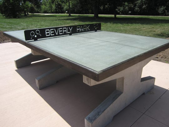 An outdoor Ping Pong table is among recent upgrades at Beverly Park.