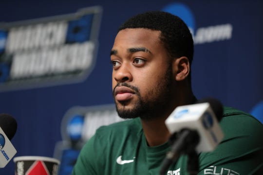 Michigan State forward Nick Ward talks with reporters about their upcoming second round NCAA tournament game against Minnesota, Friday, March 22, 2019 at Wells Fargo Arena in Des Moines, Iowa.