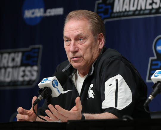 Michigan State head coach Tom Izzo talks with reporters about their upcoming second round NCAA tournament game against Minnesota, Friday, March 22, 2019 at Wells Fargo Arena in Des Moines, Iowa.