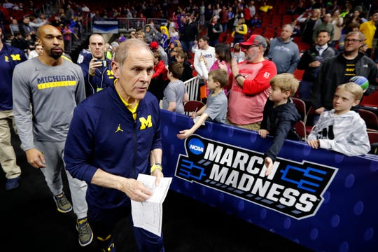 Michigan coach John Beilein on Wednesday before practice in Des Moines, Iowa.