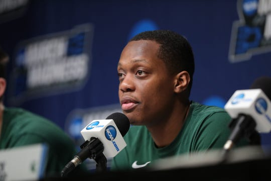 Michigan State guard Cassius Winston talks with reporters about their upcoming second round NCAA tournament game against Minnesota, Friday, March 22, 2019 at Wells Fargo Arena in Des Moines, Iowa.