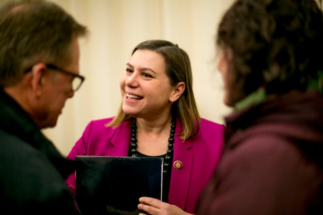 Congresswoman Elissa Slotkin greets constituents  at a town hall event at Oakland University, in Rochester, MI on March 21, 2019.