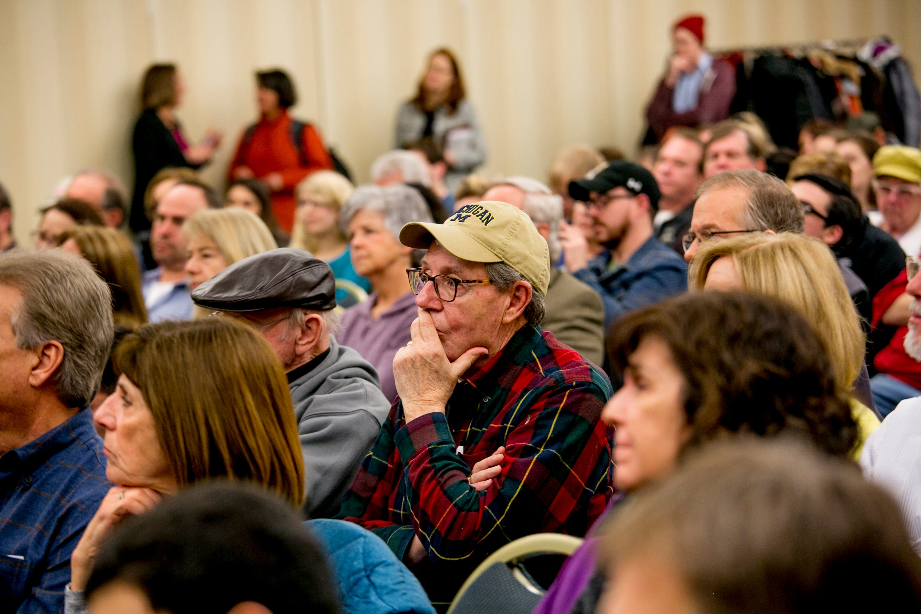 People attend a town hall event held by Congresswoman Elissa Slotkin at Oakland University, in Rochester, MI on March 21, 2019.