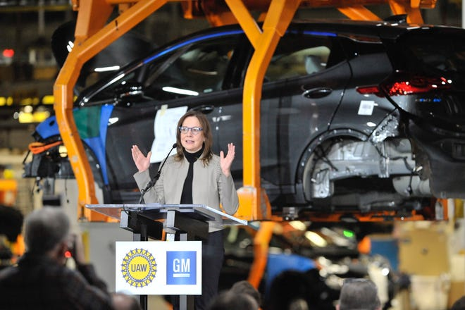 GM Chairman and CEO Mary Barra on Friday announces a $300 million investment at the automaker's Orion Assembly Plant to produce a new Chevrolet electric vehicle.