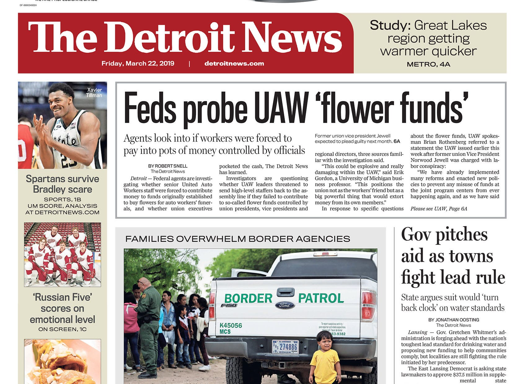 The front page of the Detroit News on Friday, March 22, 2019.