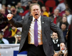Michigan State head coach Tom Izzo let freshman Aaron Henry know his displeasure with his play during Thursday's game against Bradley.