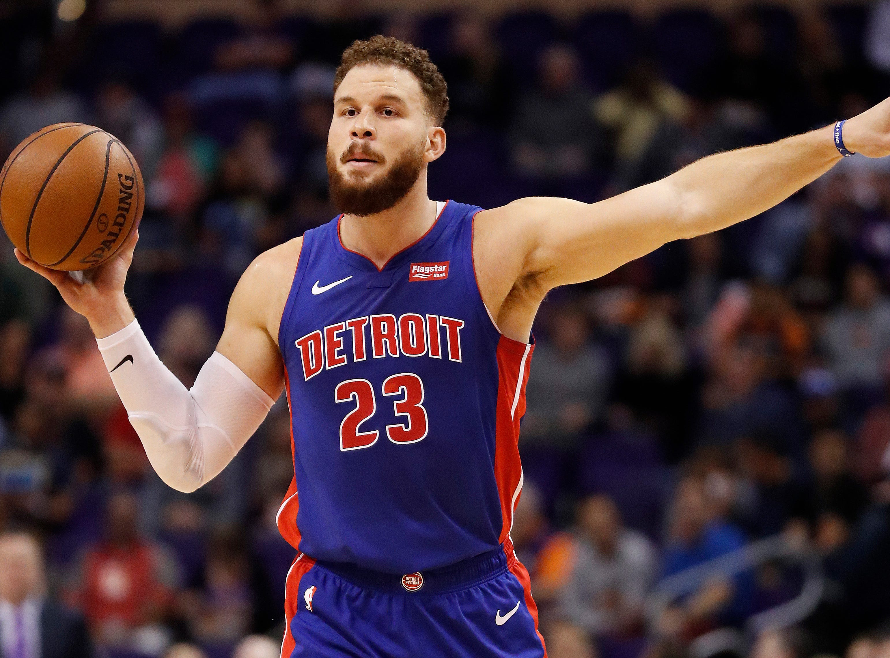 Detroit Pistons forward Blake Griffin (23) against the Phoenix Suns during the first half.