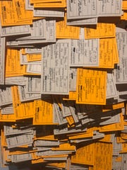 A map made of toe tags is part of the museum exhibit  'Hostile Terrian 94' University of Michigan anthropologist Jason De León