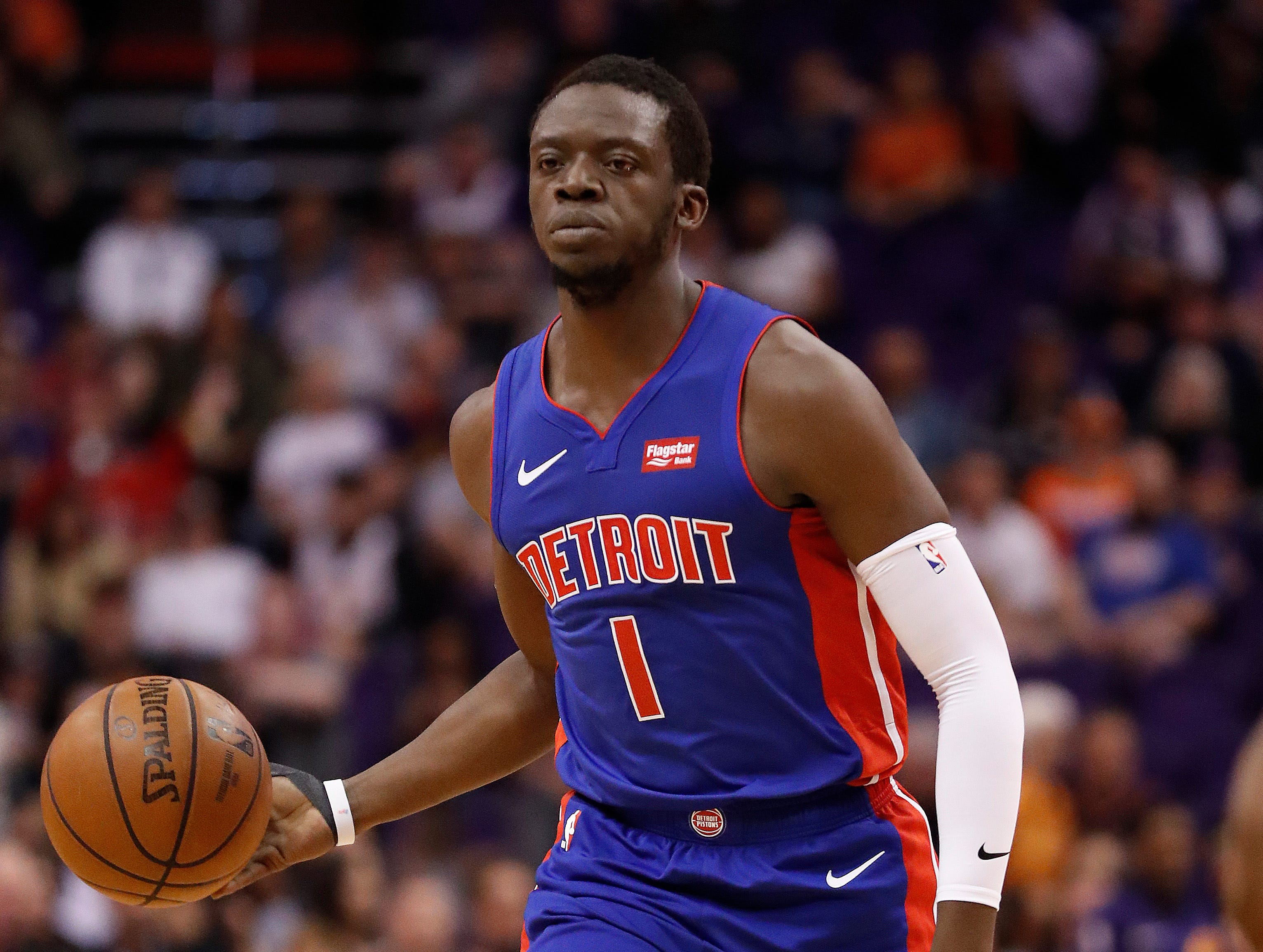 Detroit Pistons guard Reggie Jackson (1) against the Phoenix Suns during the first half.