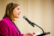 Congresswoman Elissa Slotkin speaks at a town hall event at Oakland University, in Rochester, MI on March 21, 2019.