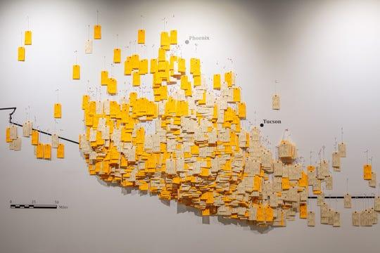 A map made of toe tags representing undocumented migrants who died in the Sonoran Desert is part of the museum exhibit  Hostile Terrian 94, created by University of Michigan anthropologist Jason De León.