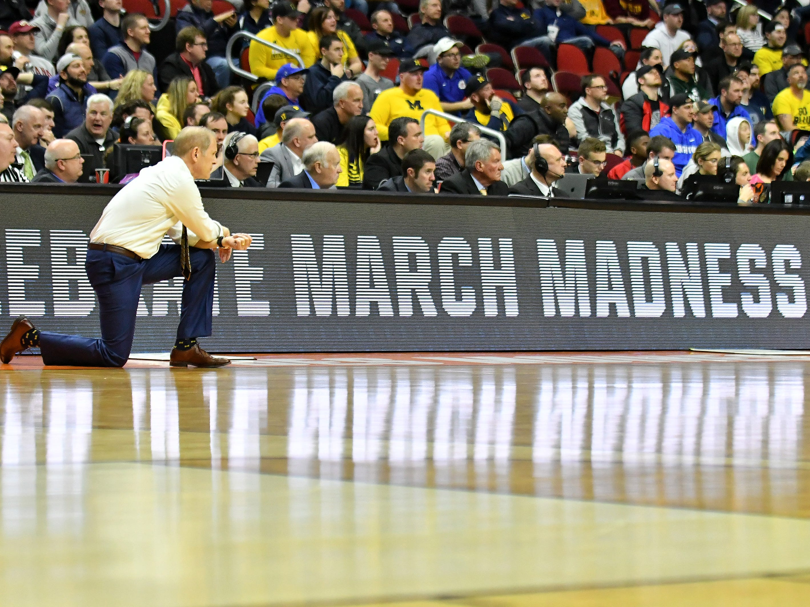 Michigan head coach John Beilein in the second half.  Michigan vs Montana for Round 1 of the NCAA Tournament at Wells Fargo Arena in Des Moines, Iowa on March. 21, 2019.  Michigan wins, 74-55.