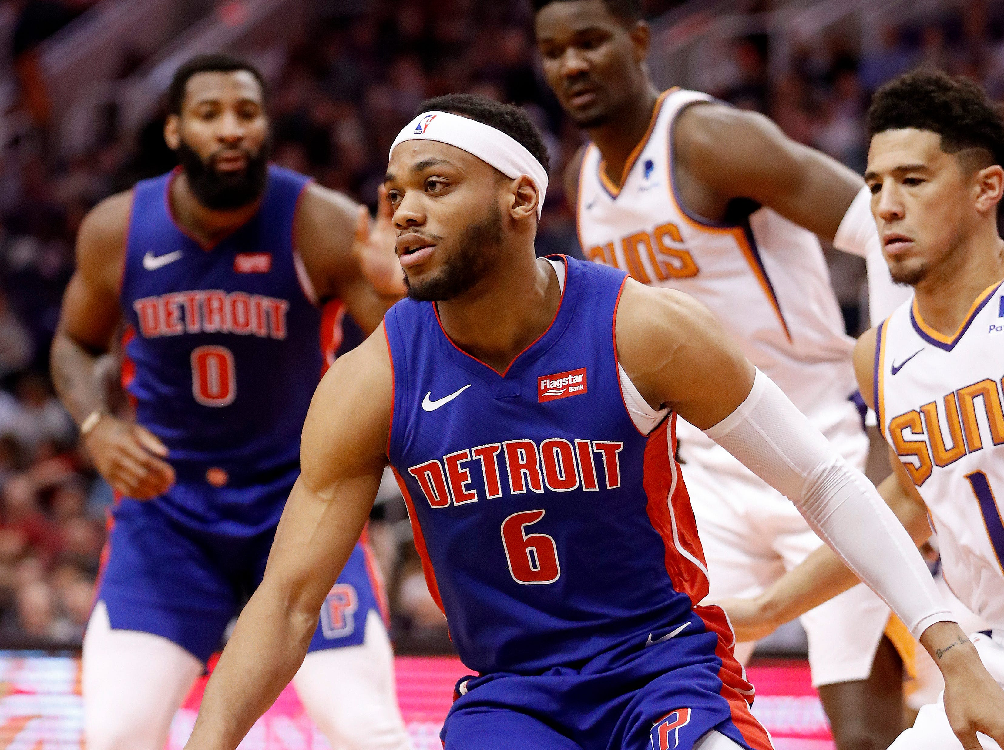 Detroit Pistons guard Bruce Brown (6) against the Phoenix Suns during the first half.