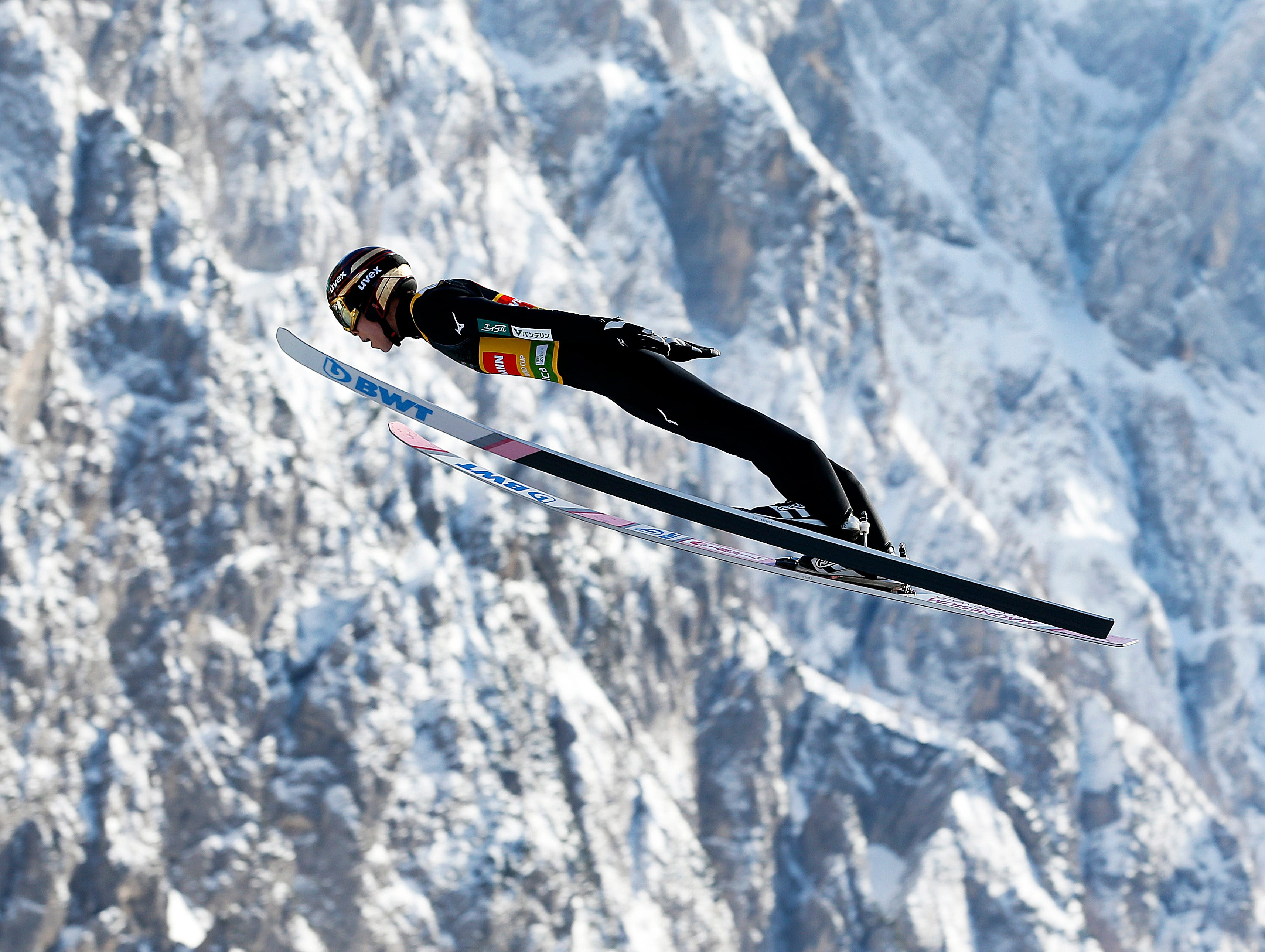 Japan's Ryoyu Kobayashi competes during the first jump in the individual competition at the Ski Jumping World Cup event in Planica, Slovenia, Friday, March 22, 2019.