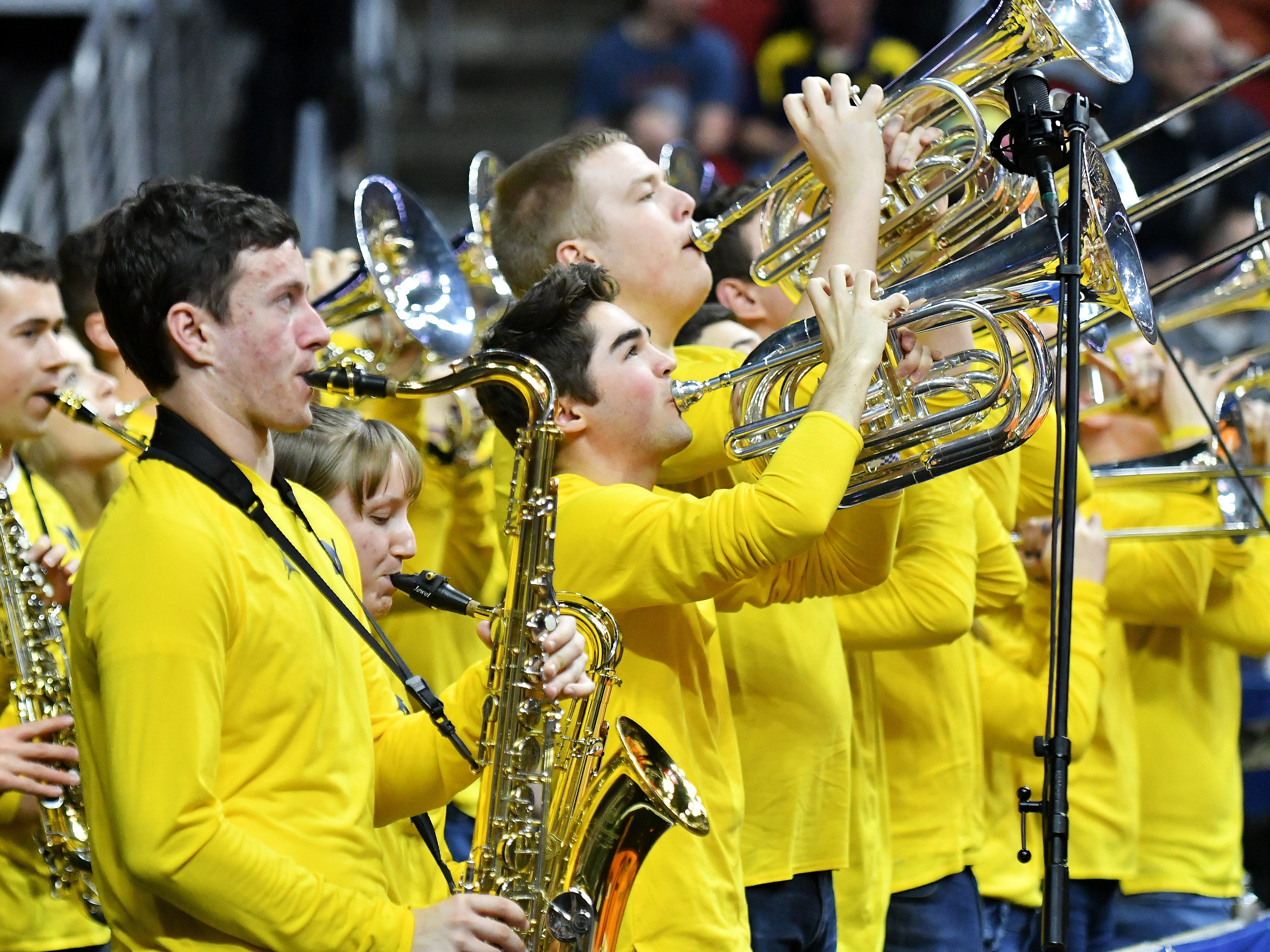 The Michigan band plays in the second half.