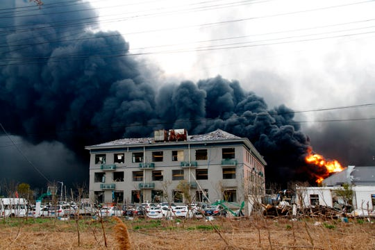 Fires burn at the site of a factory explosion in a chemical industrial park in Xiangshui County of Yancheng in eastern China's Jiangsu province Thursday, March 21, 2019