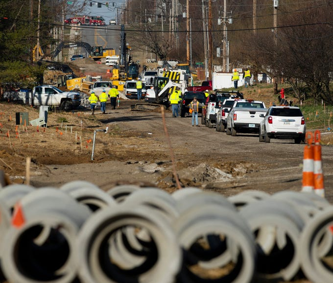 Vectren workers and firefighters are on scene where a gas main was ruptured by road work on Oak Grove Road in Warrick County Friday morning. A strong gas odor could be smelled throughout the bordering residential neighborhoods and firefighters blocked the road at Coal Mine Road east of the break and Bell Road west of the break.