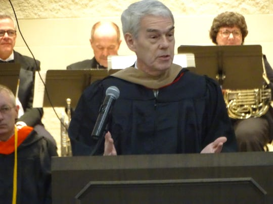 Ohio Chancellor of Higher Education Randy Gardner spoke at Terra State Community College President Ron Schumacher's inauguration ceremony Friday at the college.