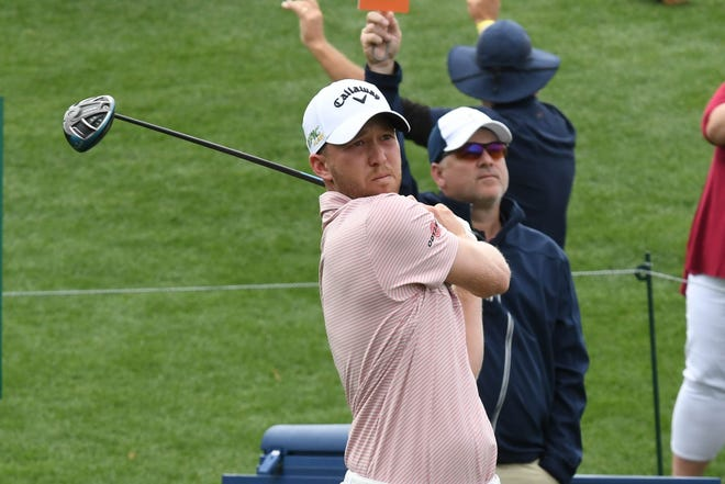 Daniel Berger teeing off on the 18th hole during the third round of the 2019 Players Championship at TPC Sawgrass.
