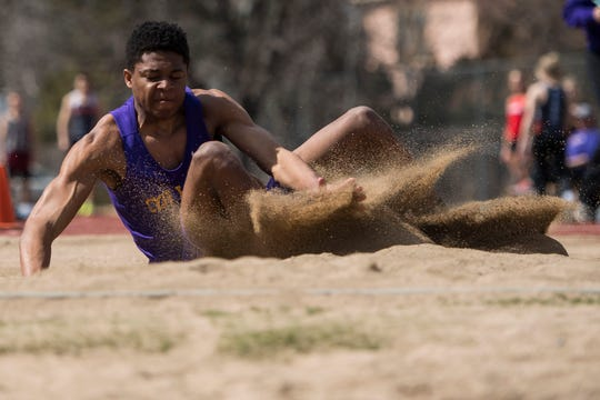 Fort Collins High School's Micaylon Moore, shown in a meet earlier this season, placed second in the long jump and sixth in the triple jump at the Arcadia Invitational in California over the weekend.