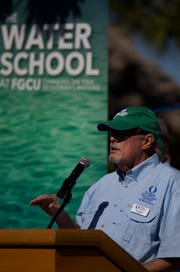 FGCU President Mike Martin announces the launching of their new Water School as he addresses the media Friday morning during an event at their Vester Field Station in Bonita Springs.