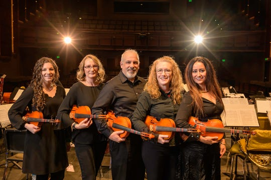 Fox Valley Sinfonia is a fundraising event for Fox Valley Symphony Orchestra that showcases non-musicians performing a concert including violists Stefanie Schuh, Darann Morgan, Daniel Higgins, Heather Watney (instructor) and Sheyrena Boswell.