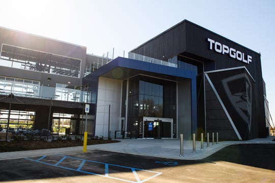 Work continues on the new TopGolf location off of Pelham Road Friday, March 22, 2019.