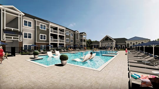 A rendering of the pool at the new Waterleaf at Neely Ferry apartments opening off West Georgia Road in Simpsonville.