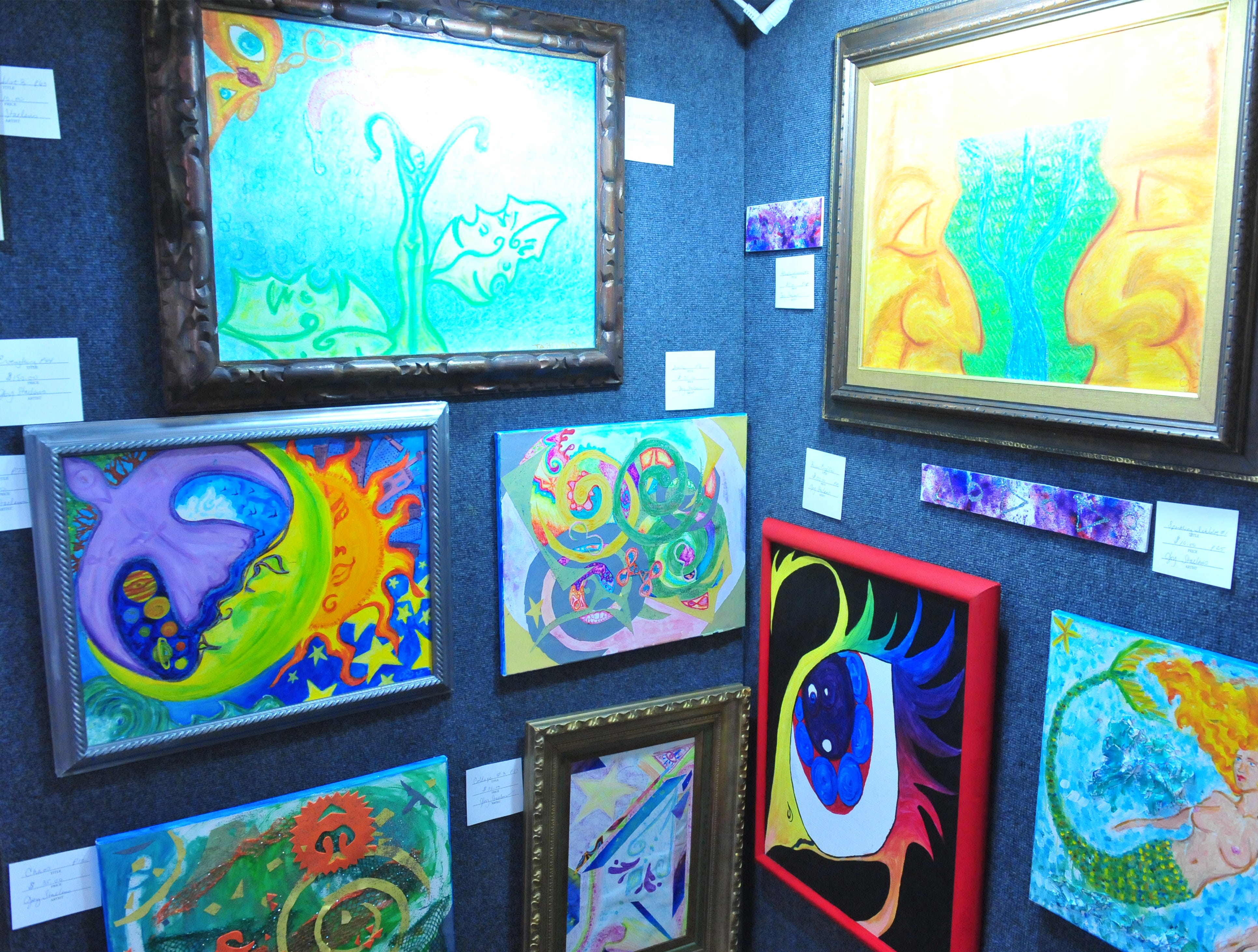 Joy Staelens' artwork on display at the Missouri Falls Fine Art Show at the History Museum, Thursday.