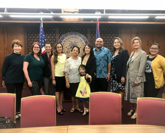 The government of Guam recognized March as Endometriosis Awareness Month. Gov. Lou Leon Guerrero and Lt. Gov. Josh Tenorio signed proclamation 2019-25, declaring March as Endometriosis Awareness Month. From Left, Jayne Flores, director of the Bureau of Women's Affairs; Jennifer Stotts; Adria Fusco; Catherine Manlapaz, co-founder of Guam Endo Movement; Leon Guerrero; Jenevieve Iriarte; Hannah Cho Iriarte, co-founder of Guam Endo Movement; Tenorio, Sen. Amanda Shelton; Sen. Kelly Marsh; Vinessa Unpingco.