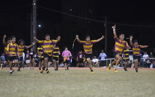 The George Washington Geckos completed an undefeated season with a 19-12 win against the three-time defending champion Father Duenas Friars in the IIAAG Boys Rugby Finals in this March 22 file photo.