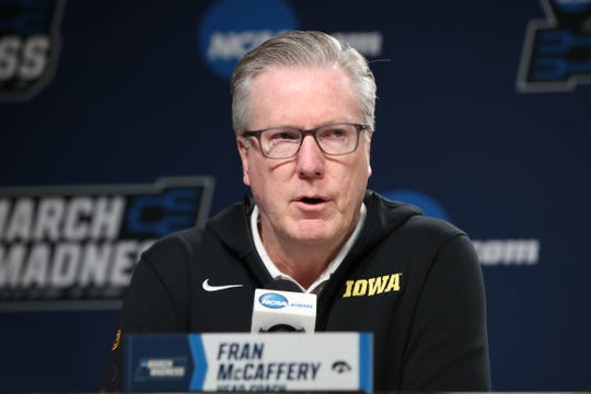 Fran McCaffery coached the Hawkeyes to a first-round NCAA Tournament win against Cincinnati last month.