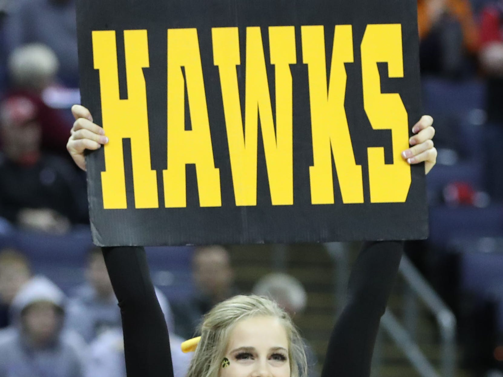 Iowa Hawkeyes cheerleader before the game against the Cincinnati Bearcats in the first round of the 2019 NCAA Tournament at Nationwide Arena on March 22, 2019.