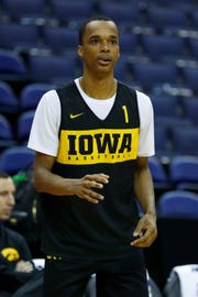 Hawkeyes guard Maishe Dailey (1) during practice before the first round of the 2019 NCAA Tournament at Nationwide Arena on March 21, 2019, in Columbus, Ohio.