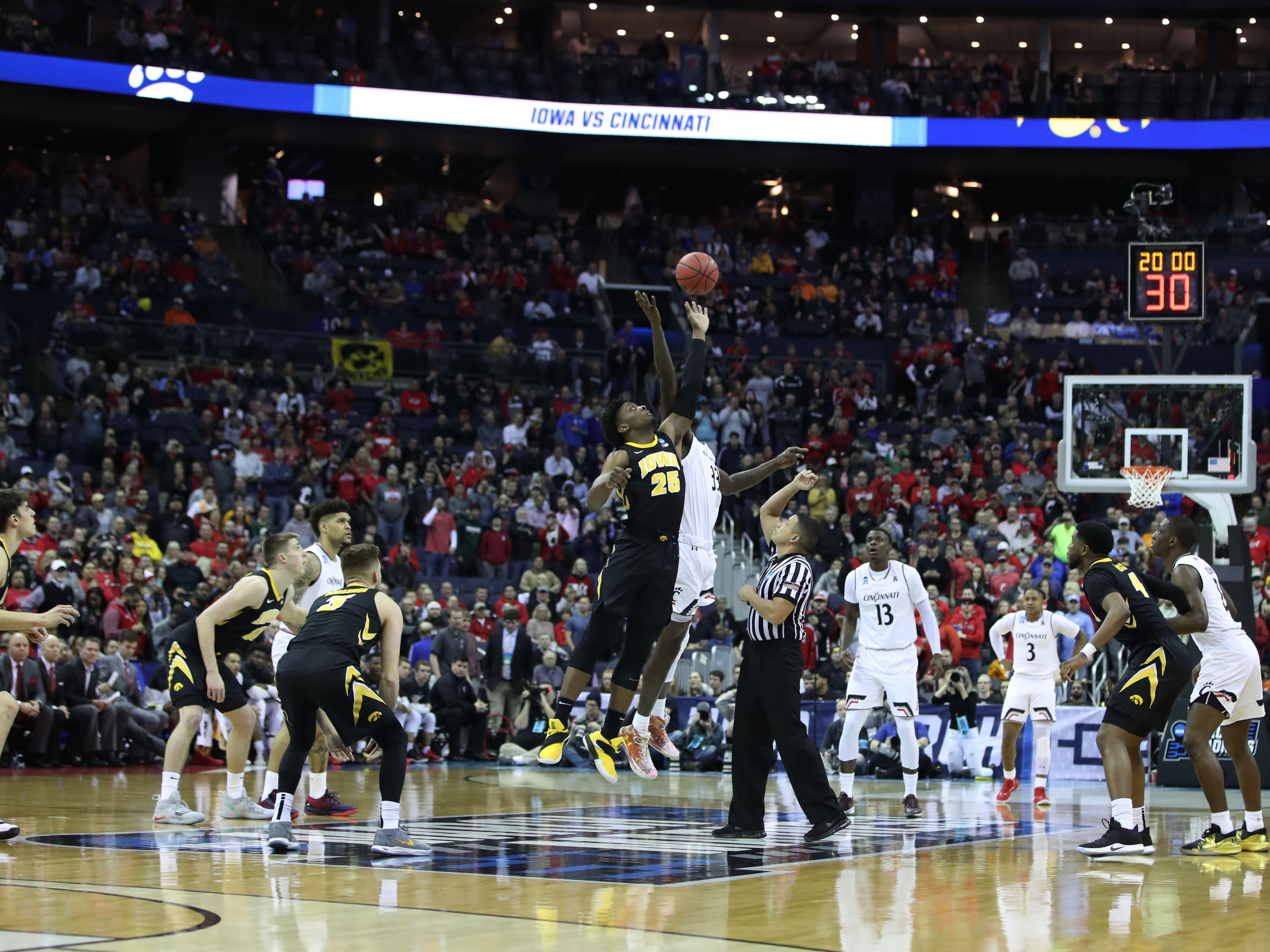 Iowa and Cincinnati tip off in the first round of the NCAA Tournament at Nationwide Arena on March 22, 2019.