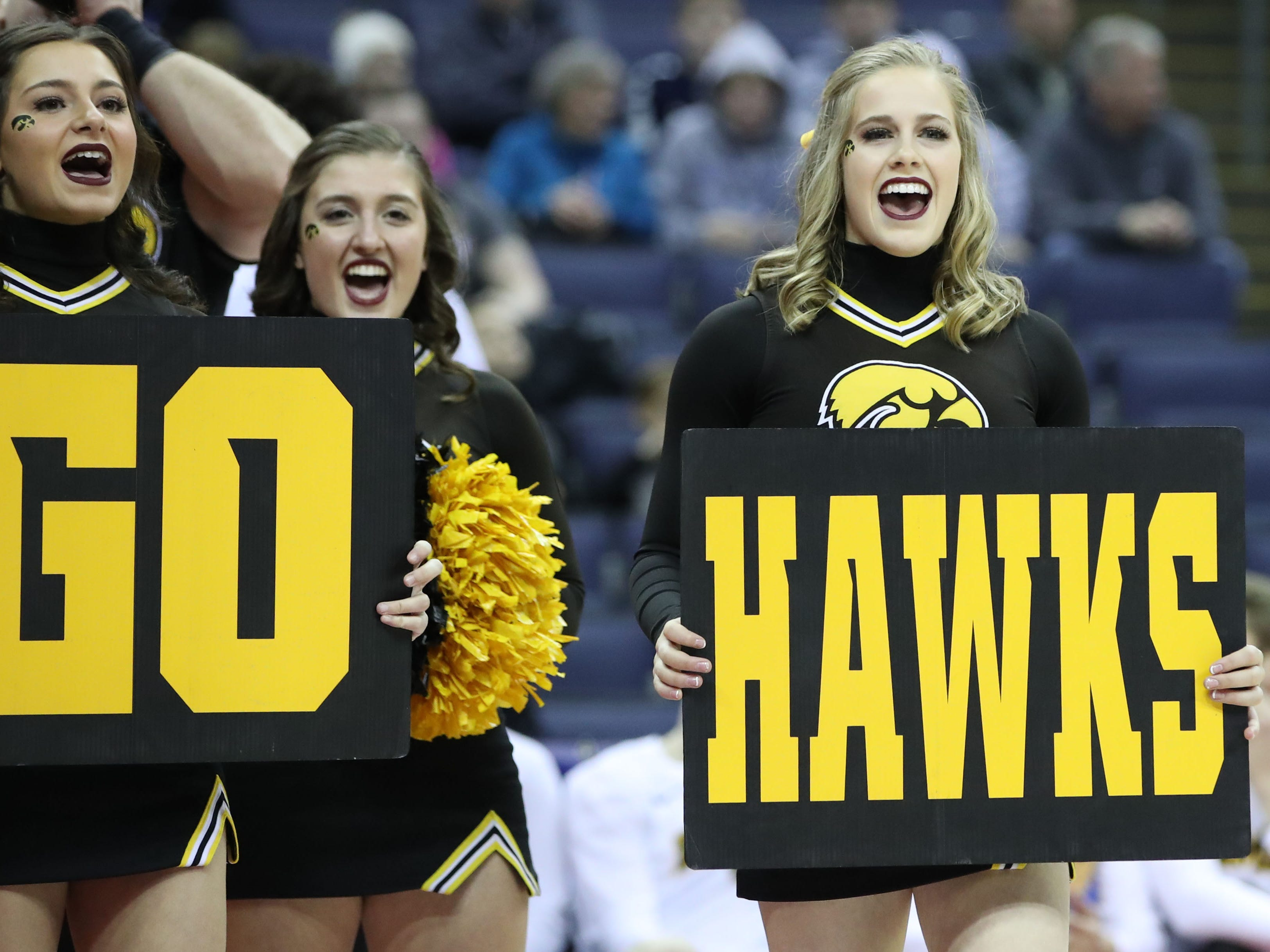 Iowa Hawkeyes cheerleaders before the game against the Cincinnati Bearcats in the first round of the 2019 NCAA Tournament at Nationwide Arena on March 22, 2019.