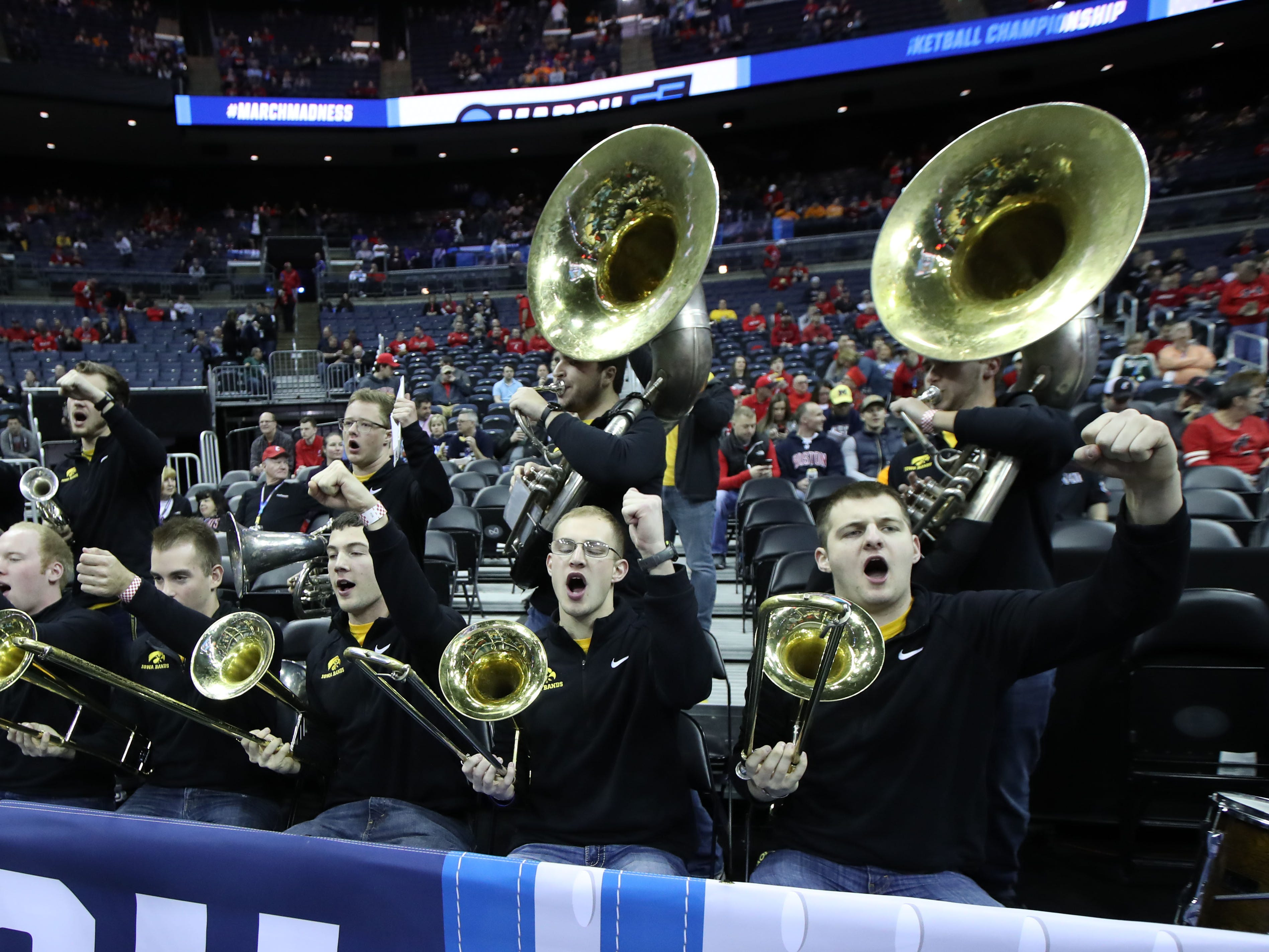 Iowa Hawkeyes band before the game against the Cincinnati Bearcats in the first round of the 2019 NCAA Tournament at Nationwide Arena on March 22, 2019.