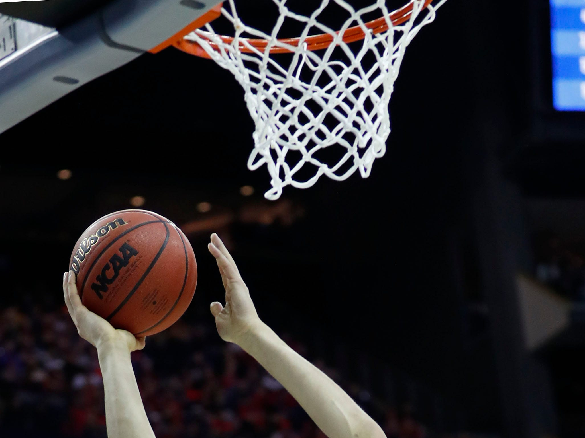 Mar 22, 2019; Columbus, OH, USA; Iowa Hawkeyes forward Luka Garza (55) jumps to the basket in the first half against the Cincinnati Bearcats in the first round of the 2019 NCAA Tournament at Nationwide Arena. Mandatory Credit: Rick Osentoski-USA TODAY Sports