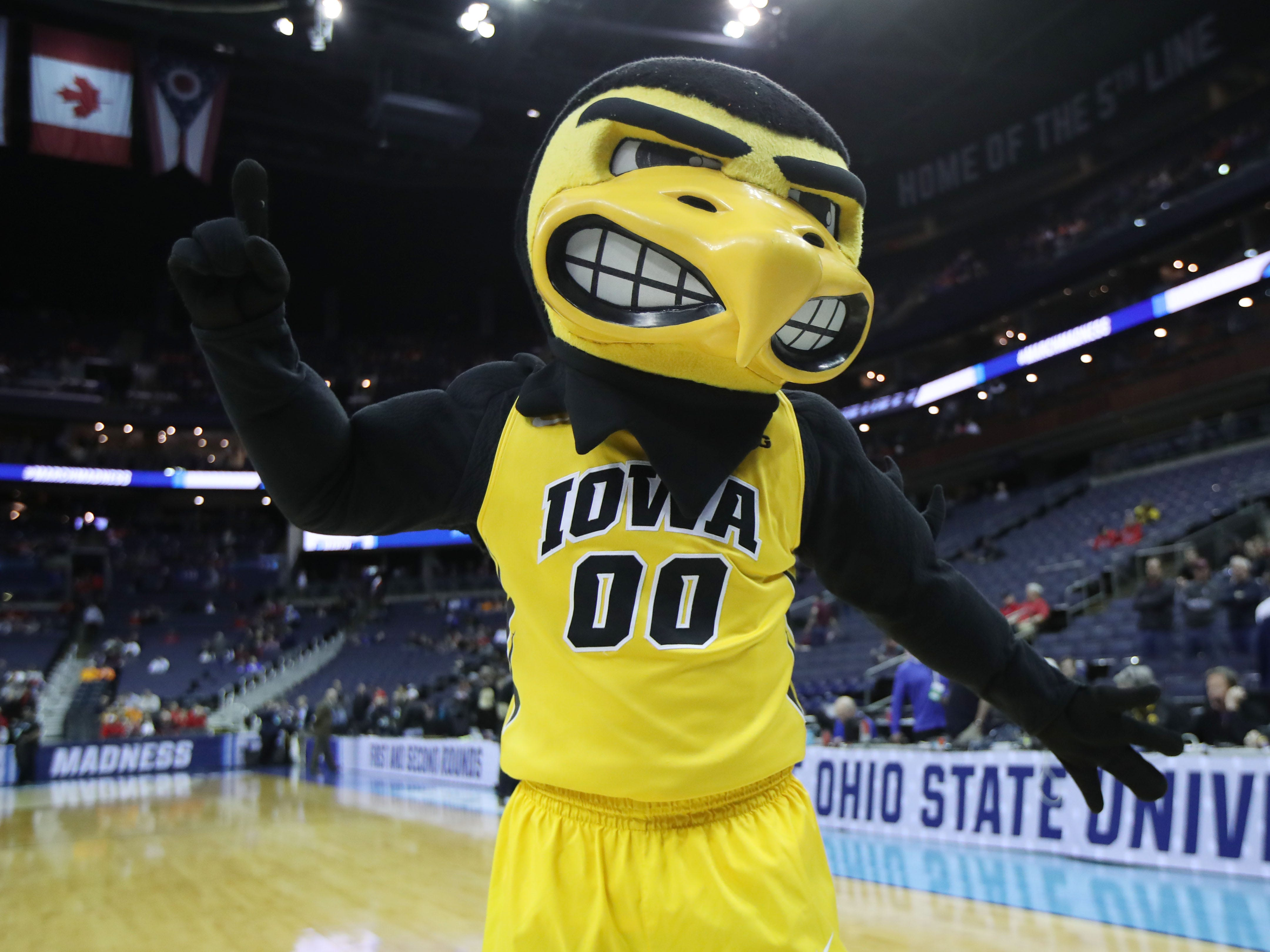 Herky before Iowa's NCAA Tournament game against the Cincinnati Bearcats in the first round at Nationwide Arena on March 22, 2019.