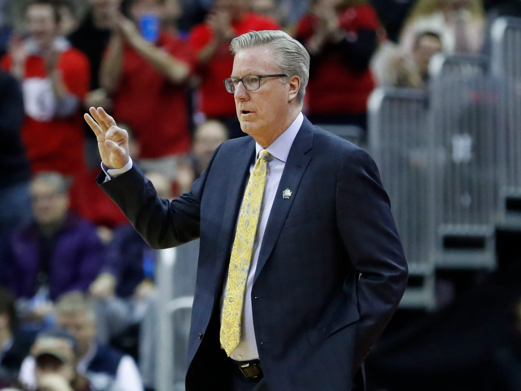 Mar 22, 2019; Columbus, OH, USA; Iowa Hawkeyes head coach Fran McCaffery reacts to a play in the first half against the Cincinnati Bearcats  in the first round of the 2019 NCAA Tournament at Nationwide Arena. Mandatory Credit: Rick Osentoski-USA TODAY Sports