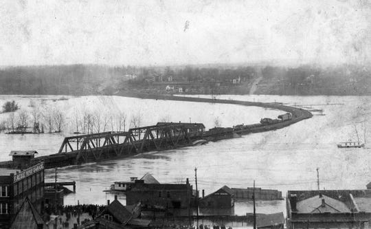 Looking southwest from Lafayette, the train bridge after the 1913 flood.