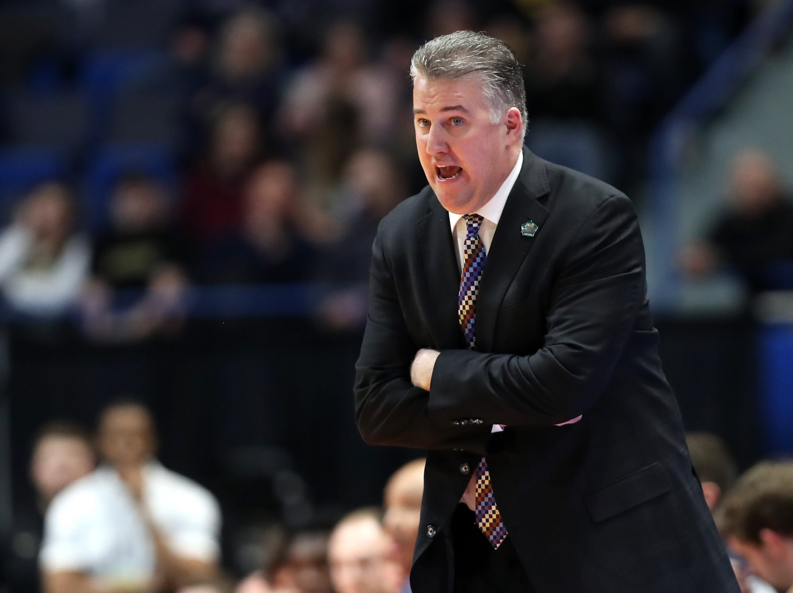 Head coach Matt Painter of the Purdue Boilermakers looks on in the first half against the Old Dominion Monarchs during the 2019 NCAA Men's Basketball Tournament at XL Center on March 21, 2019 in Hartford, Connecticut.