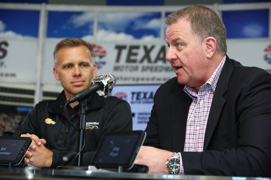 IndyCar Series driver and owner for Ed Carpenter Racing, Ed Carpenter, and IndyCar President of Competition and Operations, Jay Frye, speak to the press during the Texas Motor Speedway Track Renovation Unveiling at Texas Motor Speedway on March 13, 2017 in Fort Worth, Texas.