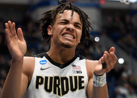 Purdue's Carsen Edwards reacts during the second half of a first round men's college basketball game against Old Dominion in the NCAA tournament, Thursday, March 21, 2019, in Hartford, Conn.