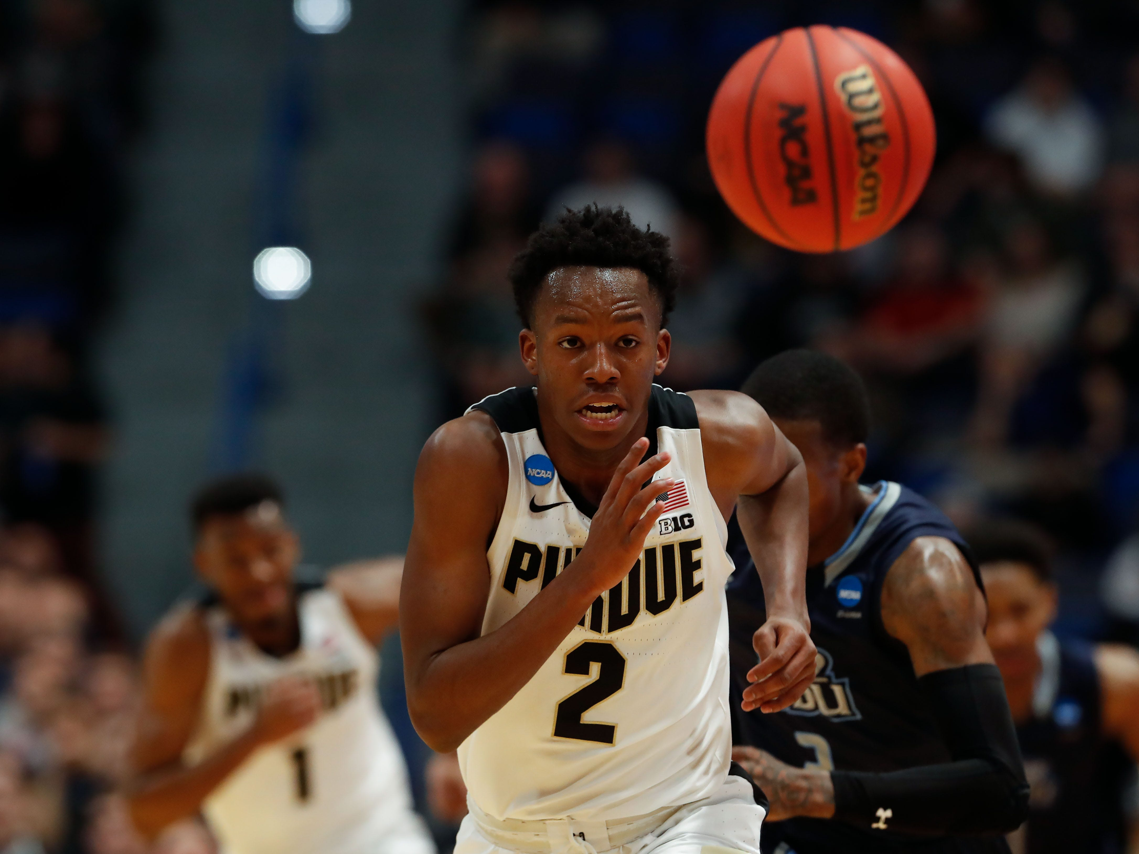 Purdue Boilermakers guard Eric Hunter Jr. (2) chases down a loose ball during the first half of a game against the Old Dominion Monarchs in the first round of the 2019 NCAA Tournament at XL Center.