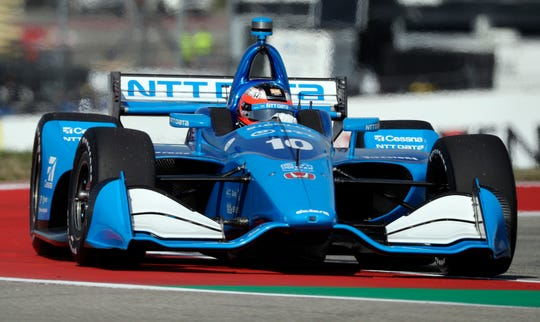 Felix Rosenqvist, of Sweden, steers through a turn during a practice session for the IndyCar Classic auto race, Friday, March 22, 2019, in Austin, Texas. (AP Photo/Eric Gay)