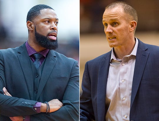 Ben Davis coach Don Carlisle (left) and Carmel coach Ryan Osborn (right) will face off Saturday night for the Class 4A state title. Both are former iUPUI players.