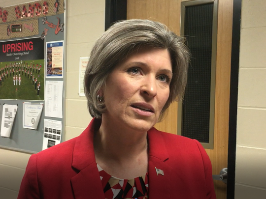 After a town hall in Williamsburg, Iowa, Sen. Joni Ernst, R-Iowa, spoke about flooding in western Iowa on March 22, 2019.